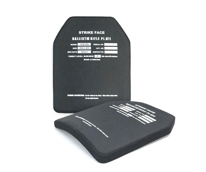 NIJ III级超轻碳化硅单曲面防弹插板STA